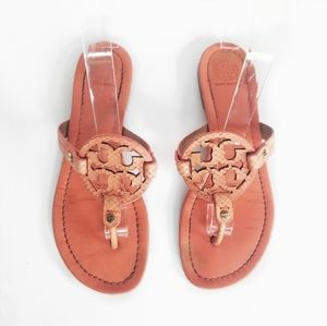 Tory Burch Miller Coral Orange Leather Sandals 8.5